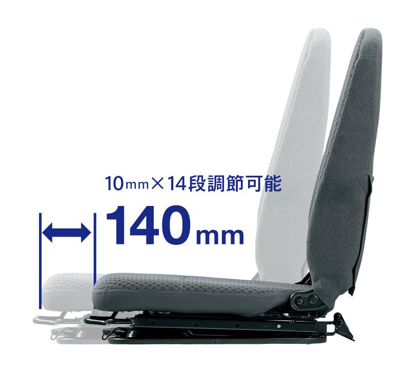 運転席シートスライド量140mm。10mm×14段階の調節できます。