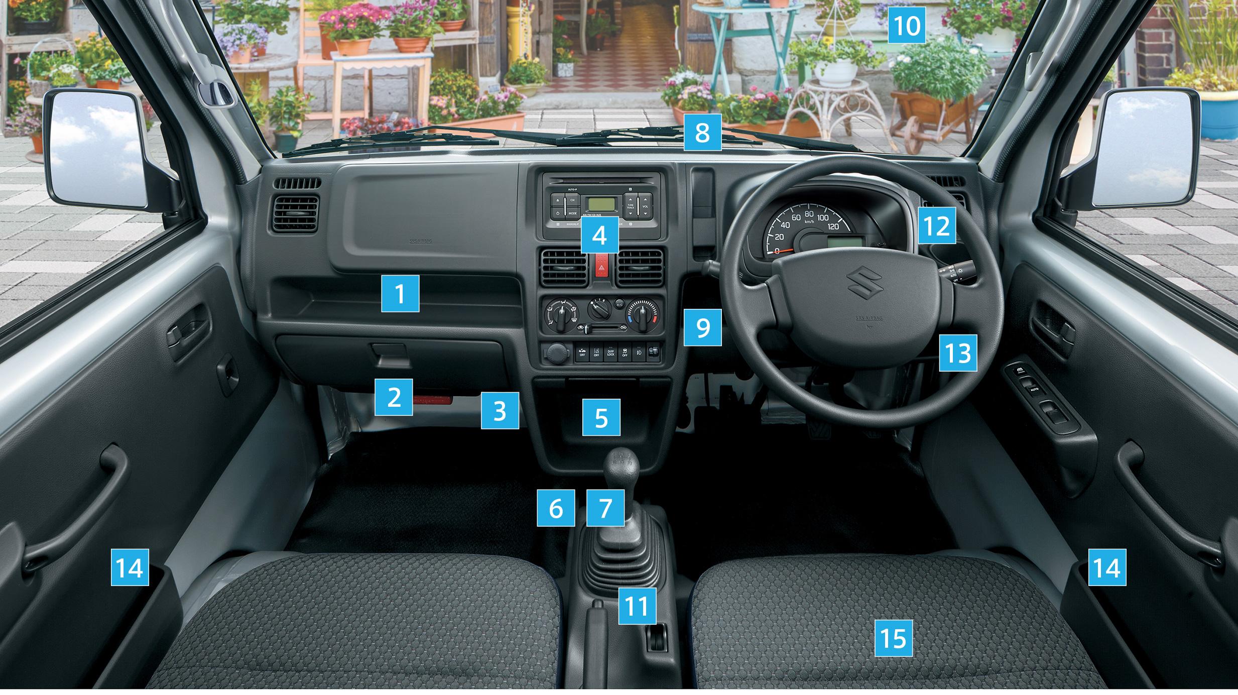 UVカット機能付フロントドアガラス。キャリイ X 2WD 3AT車、ボディーカラーはシルキーシルバーメタリック(Z2S)。